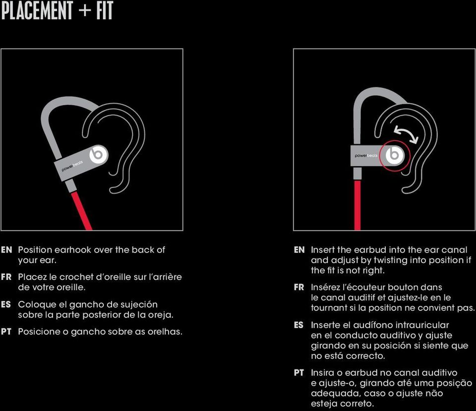 EN Insert the earbud into the ear canal and adjust by twisting into position if the fit is not right.