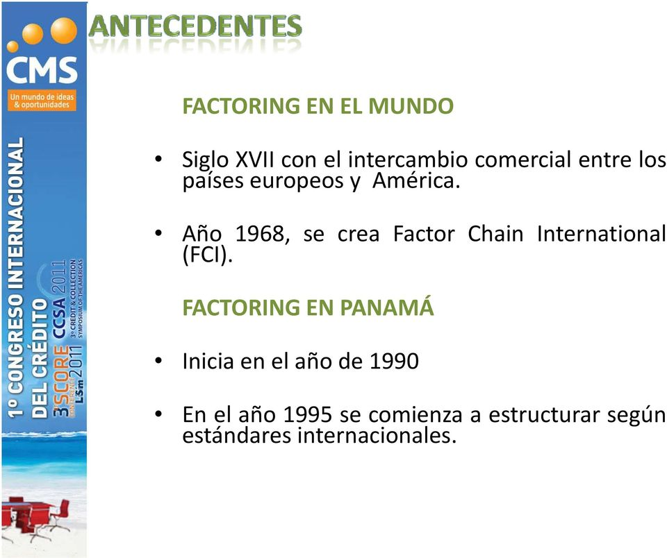 Año 1968, se crea Factor Chain International (FCI).