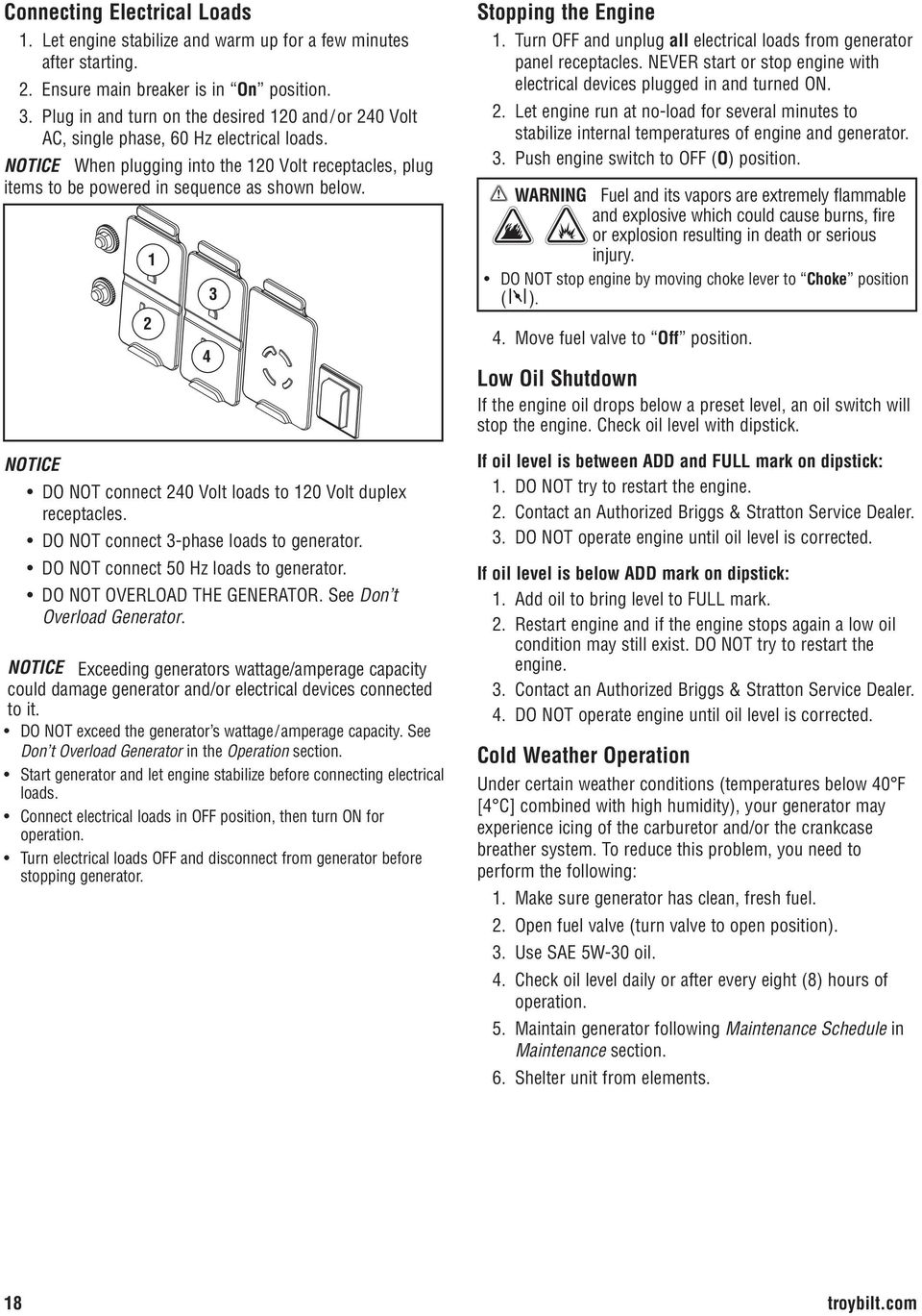 Portable Generator Operator S Manual Pdf Start Stop Switch Dont Know How To Wire A Motor 2 1 Notice Do Not Connect 240 Volt Loads 120 Duplex Receptacles