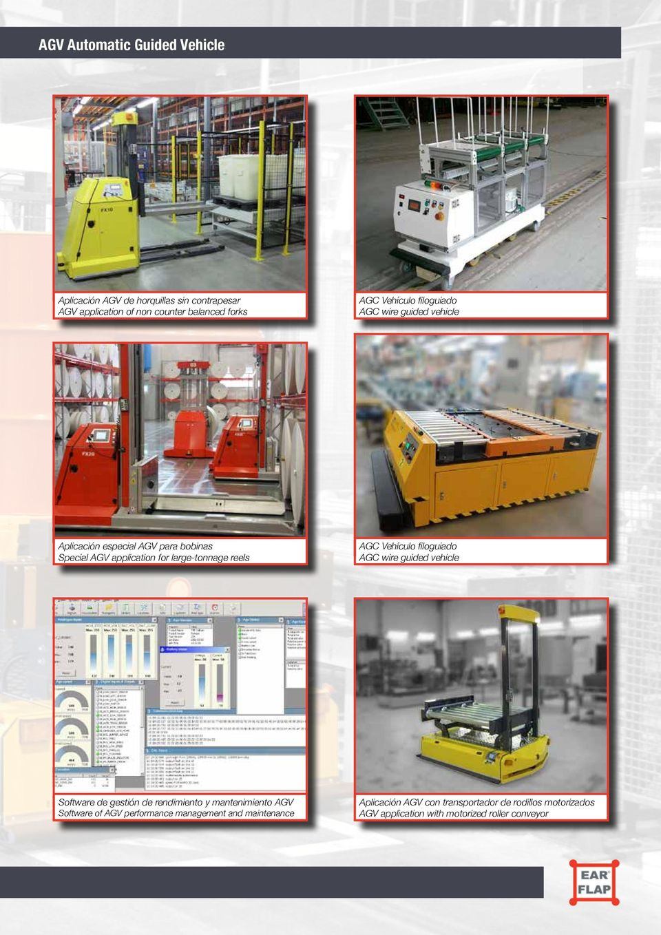 AGC Vehículo filoguiado AGC wire guided vehicle Software de gestión de rendimiento y mantenimiento AGV Software of AGV