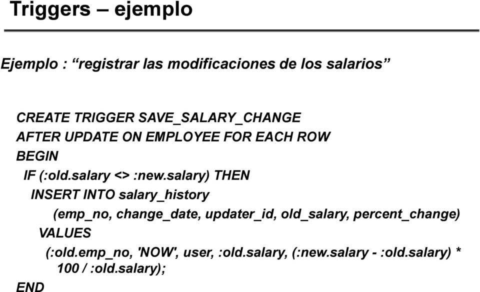 salary) THEN INSERT INTO salary_history END (emp_no, change_date, updater_id, old_salary,
