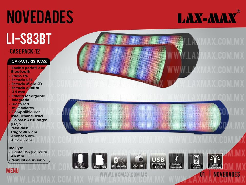 5 mm - Bateria recargable integrada - Luces Led multicolores - Compatible con ipod, iphone,