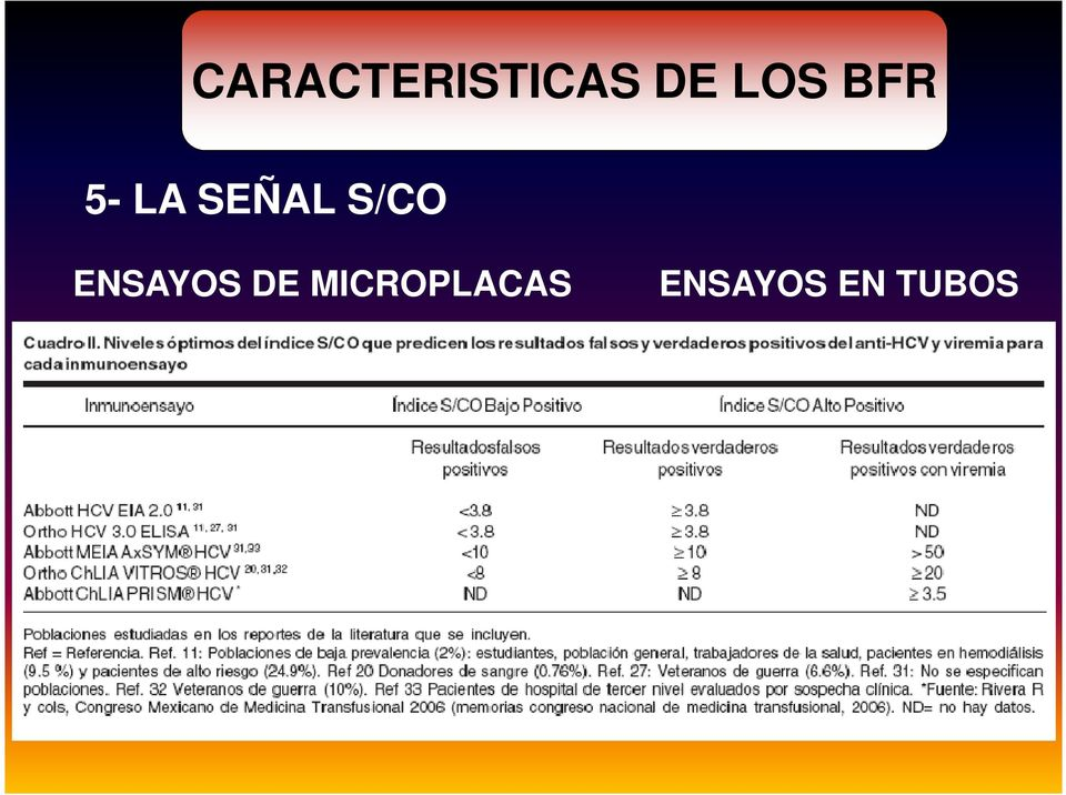 TUBOS HCV BFR S/CO : 1.