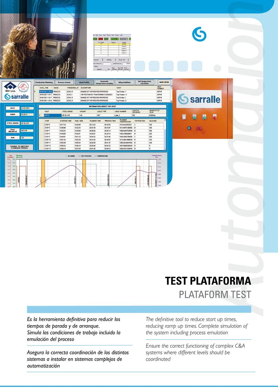 instalar en sistemas complejos de automatización Automation TEST PLATAFORMA PLATAFORM TEST The definitive tool to reduce start up