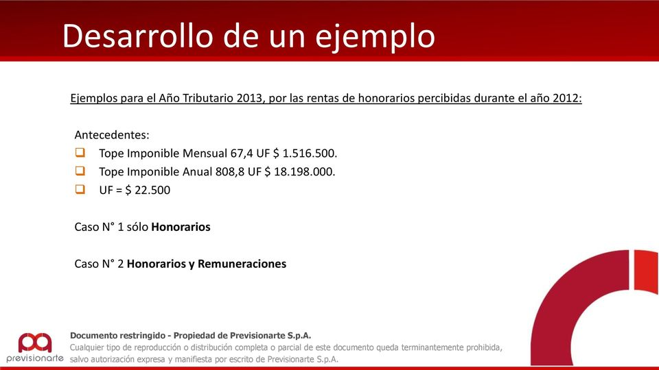 Imponible Mensual 67,4 UF $ 1.516.500. Tope Imponible Anual 808,8 UF $ 18.