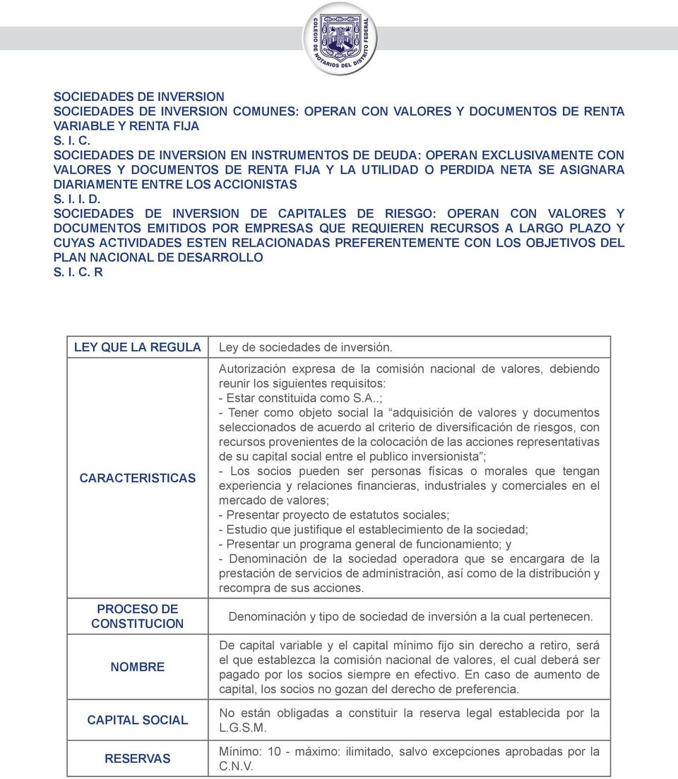 N VALORES Y DOCUMENTOS DE RENTA VARIABLE Y RENTA FIJA S. I. C.