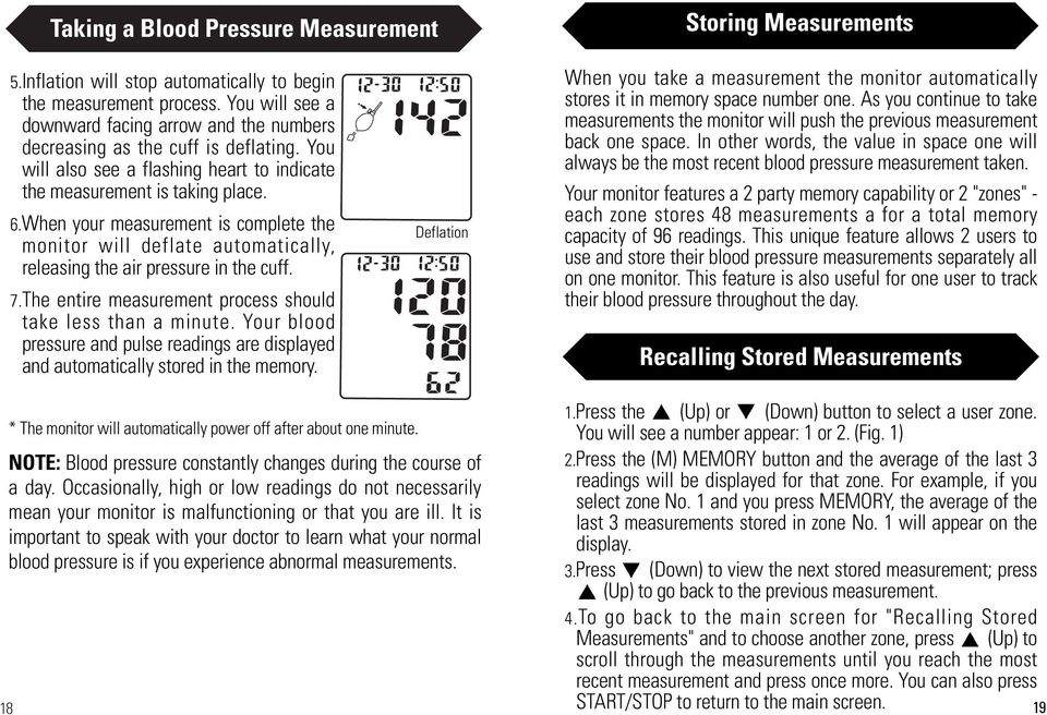 When your measurement is complete the monitor will deflate automatically, releasing the air pressure in the cuff. 7.The entire measurement process should take less than a minute.