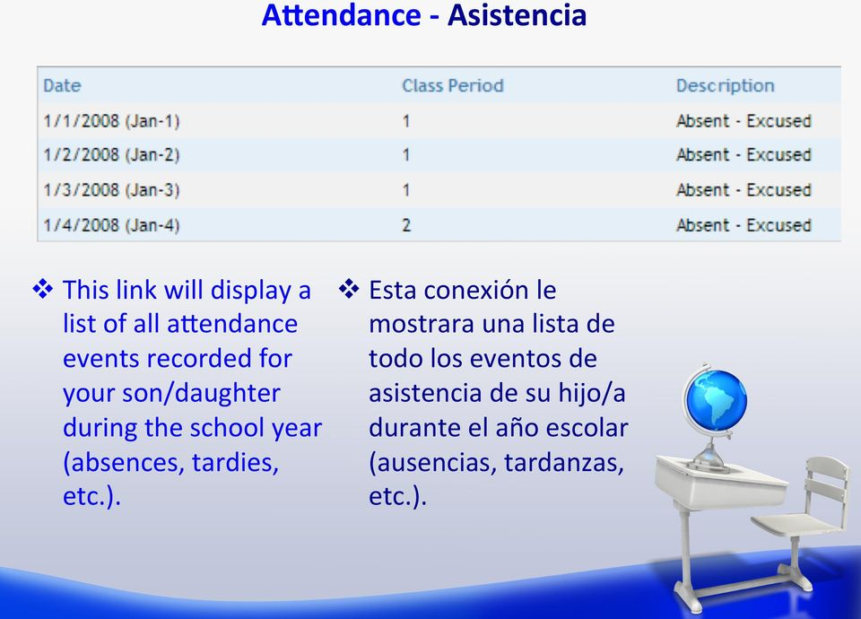 eventos de your son/daughter asistencia de su hijo/a during the school