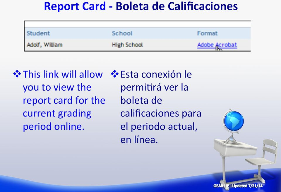 la report card for the boleta de current grading