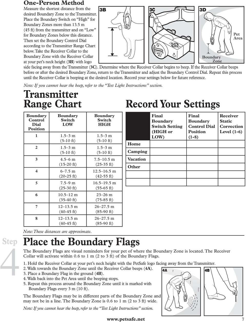 Then set the Boundary Control Dial according to the Transmitter Range Chart below.