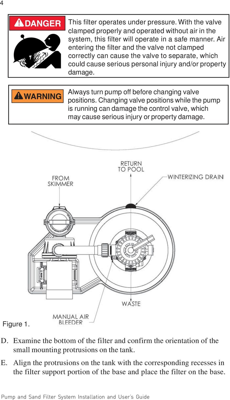 Always turn pump off before changing valve positions. Changing valve positions while the pump is running can damage the control valve, which may cause serious injury or property damage. Figure 1. D.