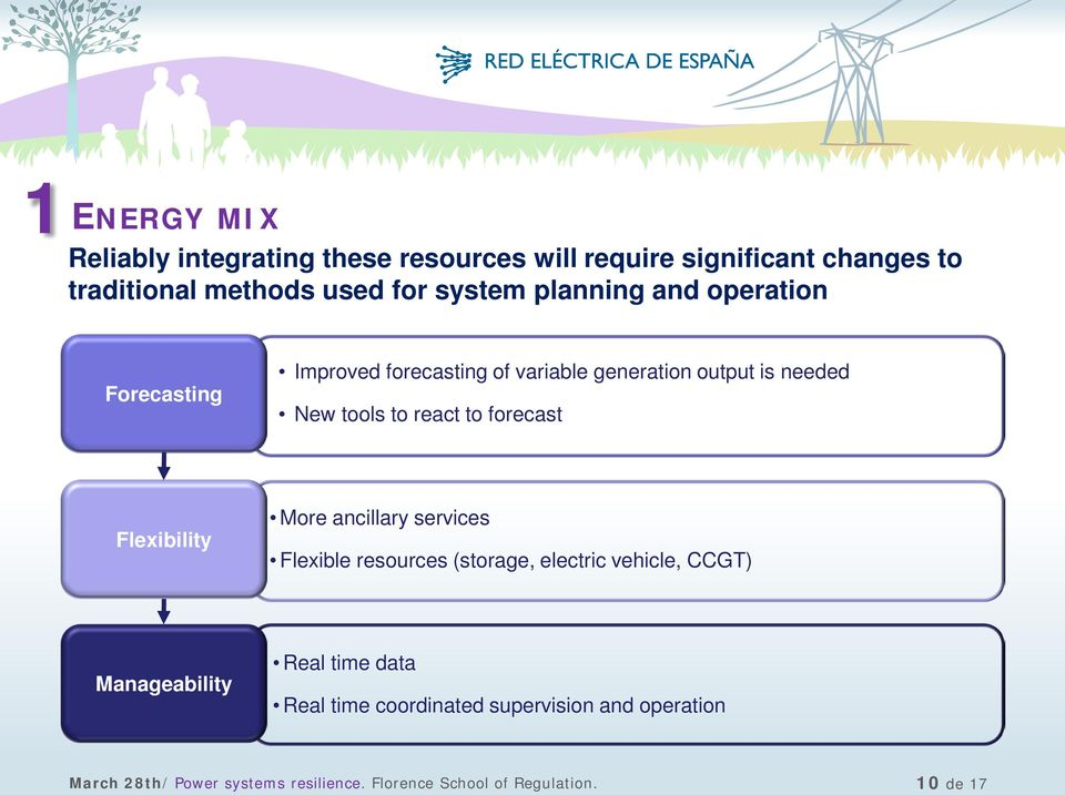 forecast Flexibility More ancillary services Flexible resources (storage, electric vehicle, CCGT) Manageability Real time