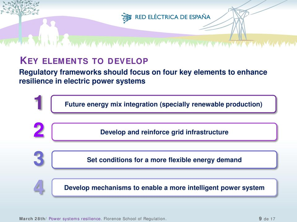 reinforce grid infrastructure 3 Set conditions for a more flexible energy demand 4 Develop mechanisms to