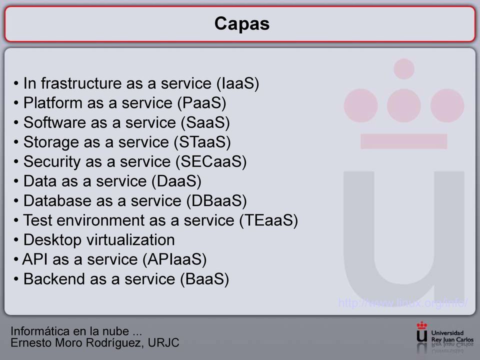 service (DBaaS) Test environment as a service (TEaaS) Desktop virtualization API as a service (APIaaS)