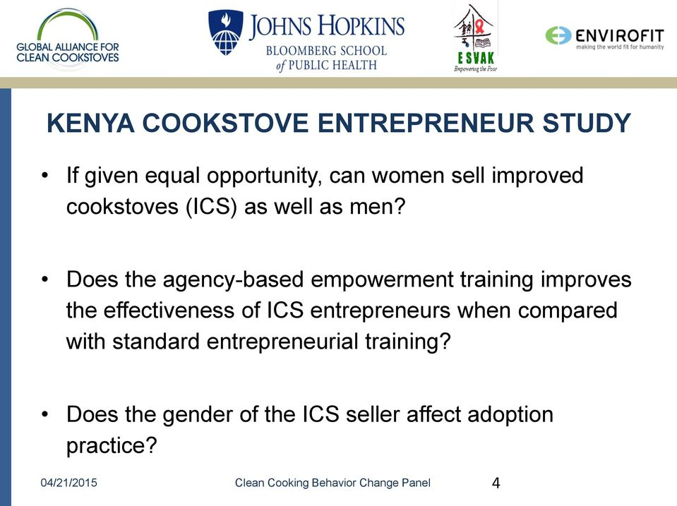 Does the agency-based empowerment training improves the effectiveness of ICS entrepreneurs