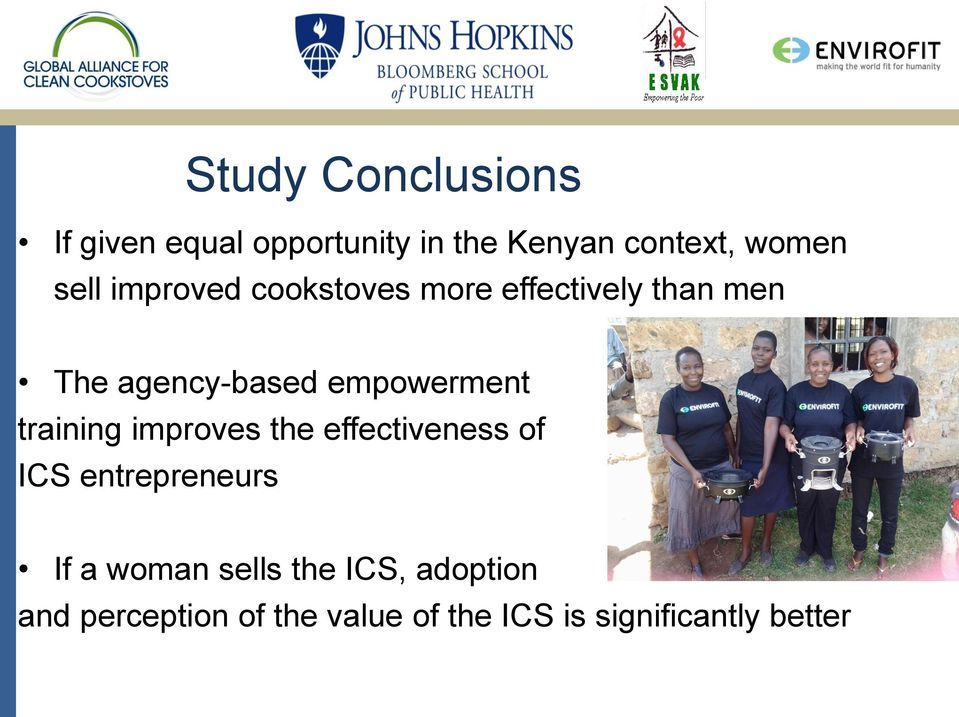 empowerment training improves the effectiveness of ICS entrepreneurs If a