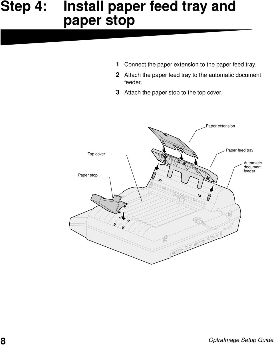 2 Attach the paper feed tray to the automatic document feeder.