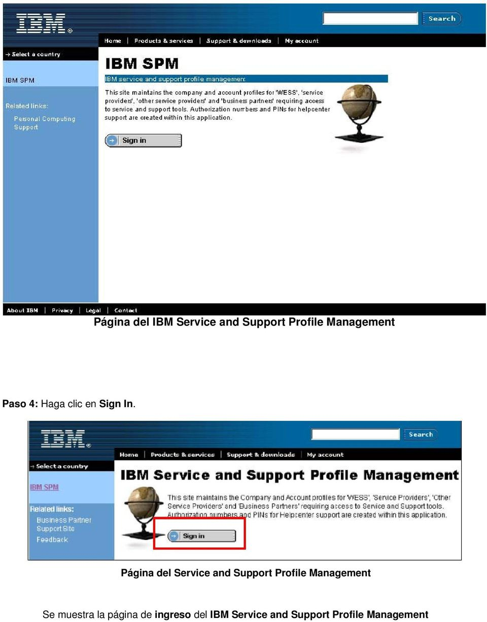Página del Service and Support Profile Management Se