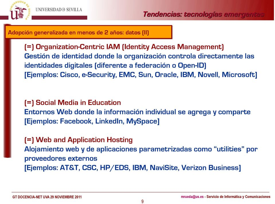 (=) Social Media in Education Entornos Web donde la información individual se agrega y comparte [Ejemplos: Facebook, LinkedIn, MySpace] (=) Web and