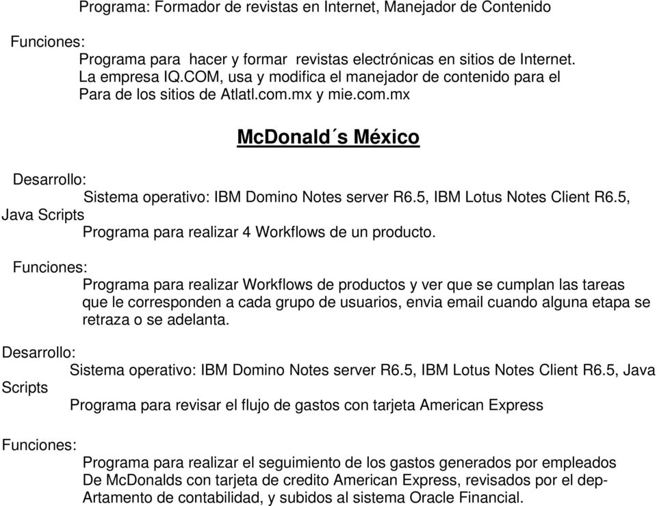5, Java Scripts Programa para realizar 4 Workflows de un producto.