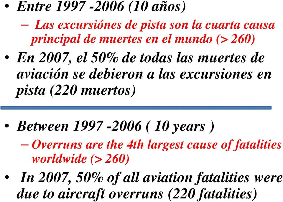pista (220 muertos) Between 1997-2006 ( 10 years ) Overruns are the 4th largest cause of fatalities