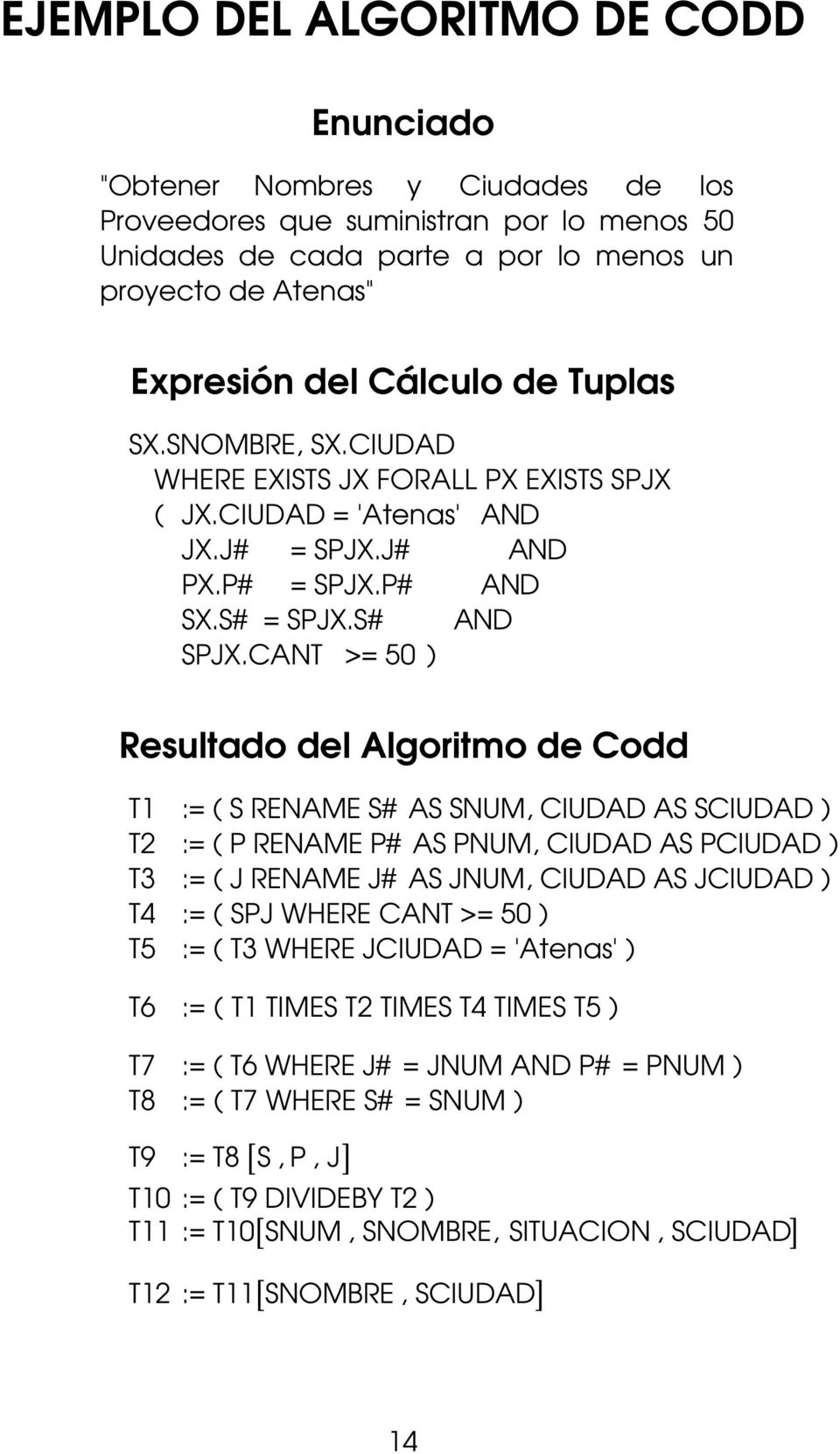 CANT >= 50 ) Resultado del Algoritmo de Codd T1 := ( S RENAME S# AS SNUM, CIUDAD AS SCIUDAD ) T2 := ( P RENAME P# AS PNUM, CIUDAD AS PCIUDAD ) T3 := ( J RENAME J# AS JNUM, CIUDAD AS JCIUDAD ) T4 := (