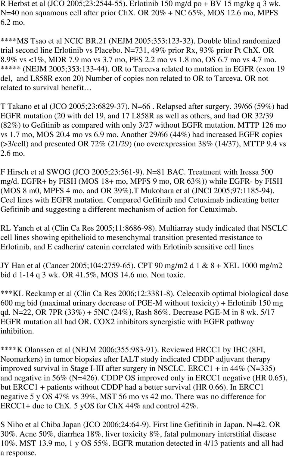 7 mo vs 4.7 mo. ***** (NEJM 2005;353:133-44). OR to Tarceva related to mutation in EGFR (exon 19 del, and L858R exon 20) Number of copies non related to OR to Tarceva.