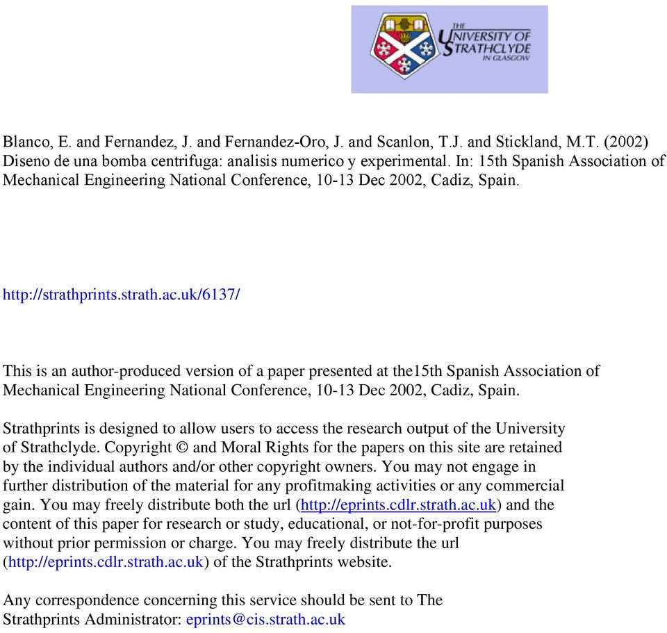 uk/6137/ This is an author-produced version of a paper presented at the15th Spanish Association of Mechanical Engineering National Conference, 10-13 Dec 2002, Cadiz, Spain.