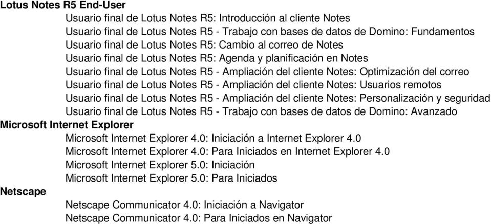 Lotus Notes R5 - Ampliación del cliente Notes: Usuarios remotos Usuario final de Lotus Notes R5 - Ampliación del cliente Notes: Personalización y seguridad Usuario final de Lotus Notes R5 - Trabajo