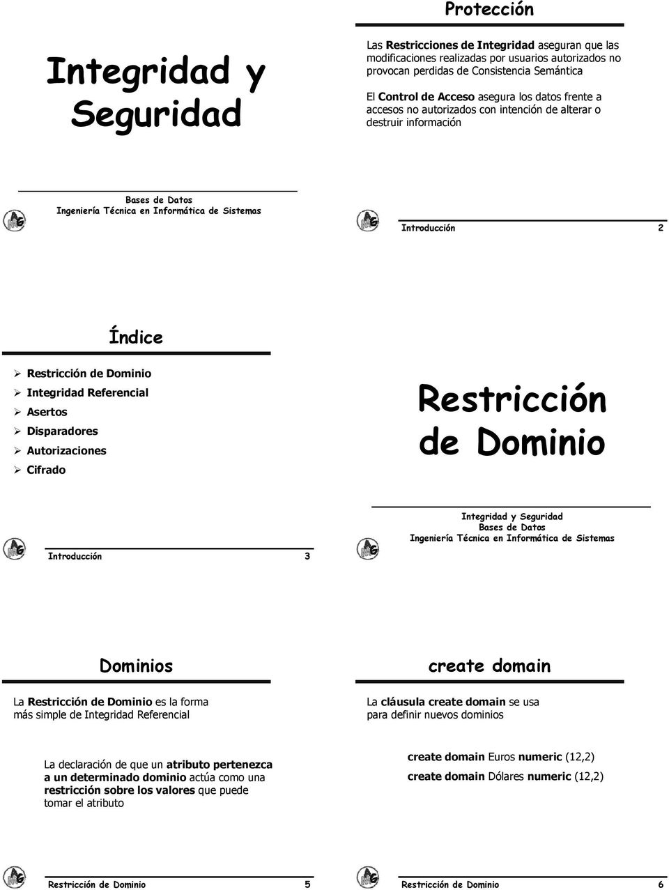 Autorizaciones Cifrado Restricción de Dominio Introducción 3 Dominios La Restricción de Dominio es la forma más simple de Integridad Referencial create domain La cláusula create domain se usa para
