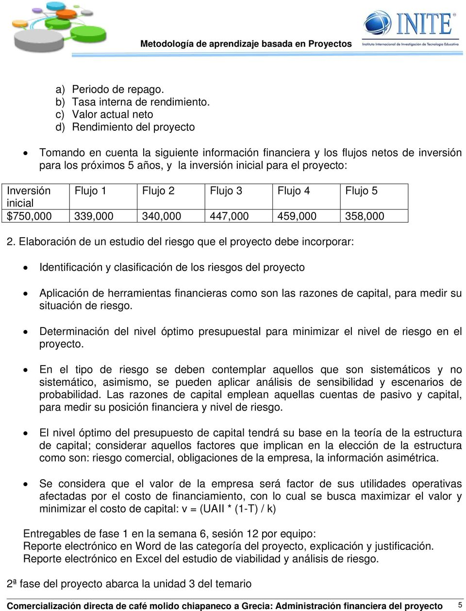 proyecto: Inversión Flujo 1 Flujo 2 Flujo 3 Flujo 4 Flujo 5 inicial $750,000 339,000 340,000 447,000 459,000 358,000 2.