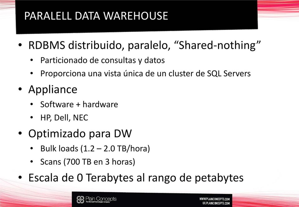 SQL Servers Appliance Software + hardware HP, Dell, NEC Optimizado para DW Bulk