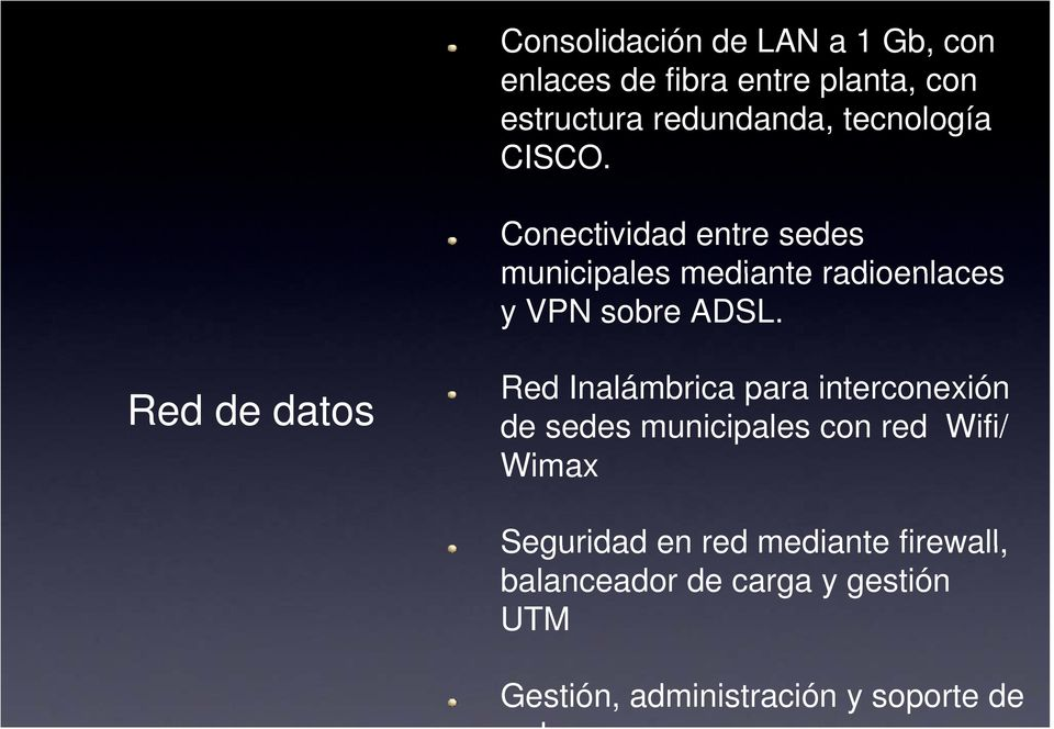 Red de datos Red Inalámbrica para interconexión de sedes municipales con red Wifi/ Wimax
