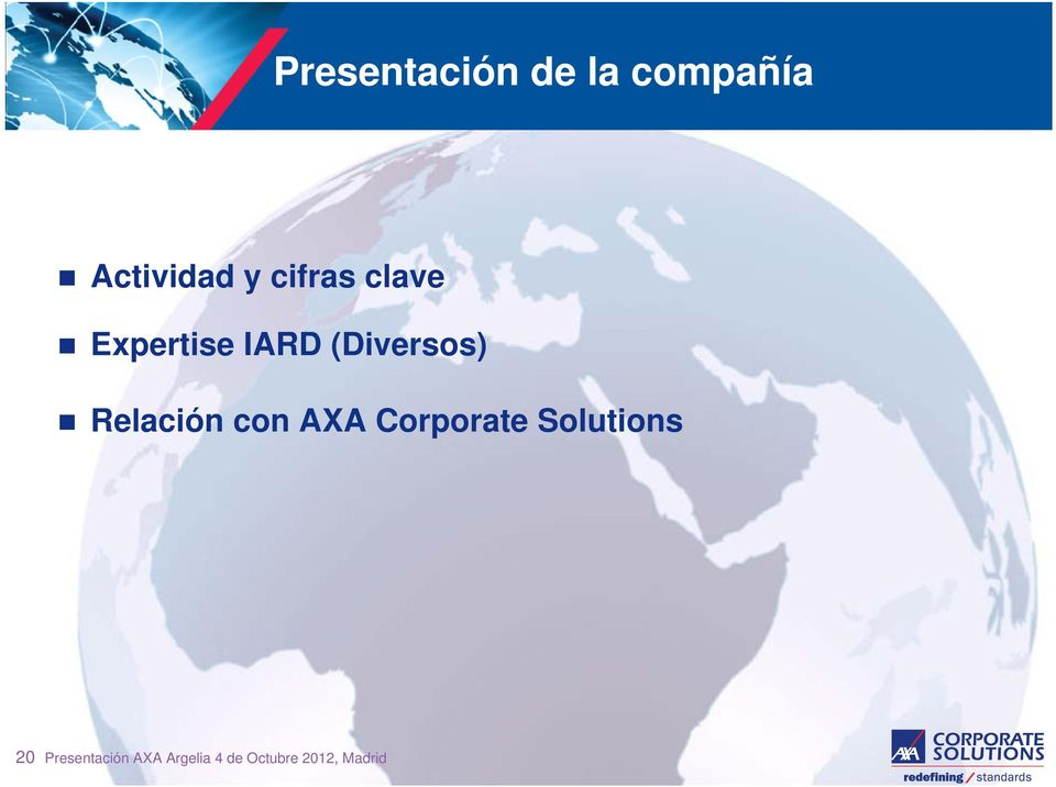 Relación con AXA Corporate Solutions 20