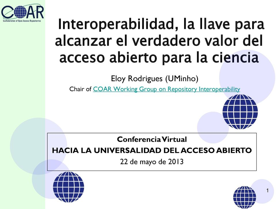 COAR Working Group on Repository Interoperability Conferencia