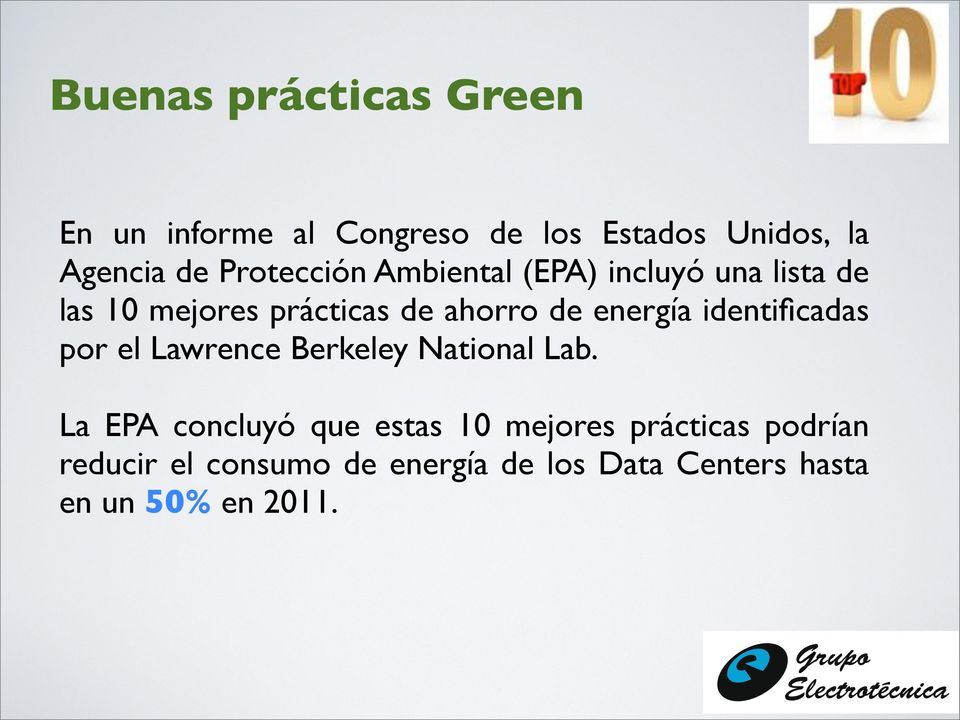 energía identificadas por el Lawrence Berkeley National Lab.