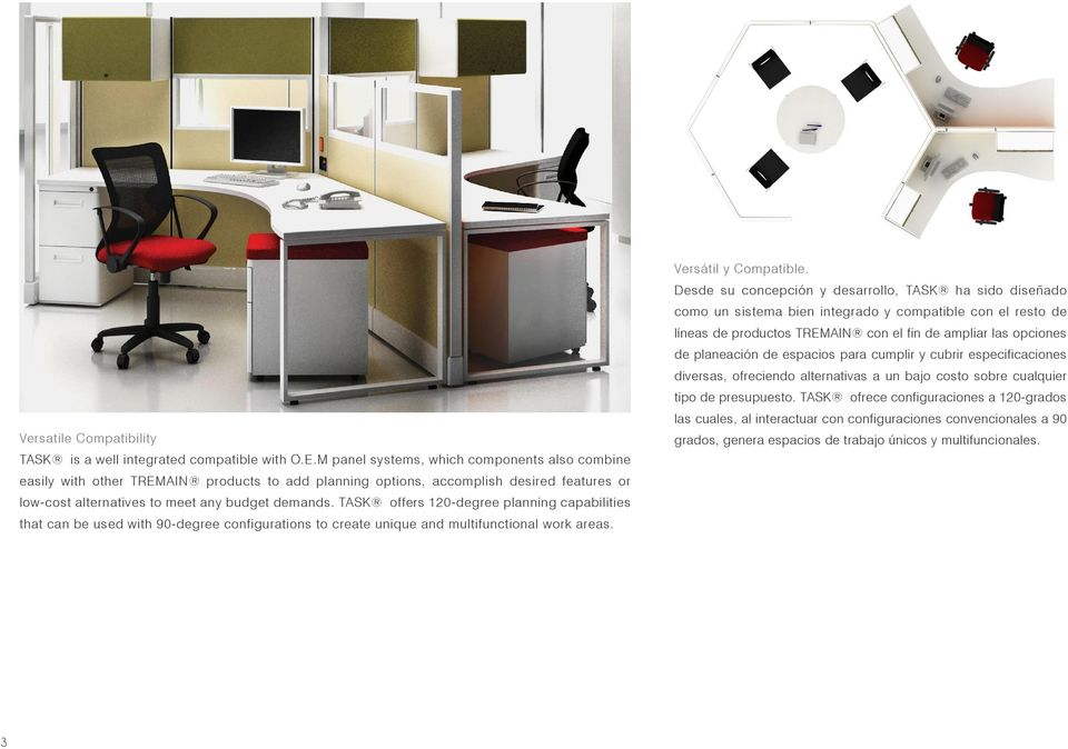 TASK offers 120-degree planning capabilities that can be used with 90-degree configurations to create unique and multifunctional work areas. Versátil y Compatible.