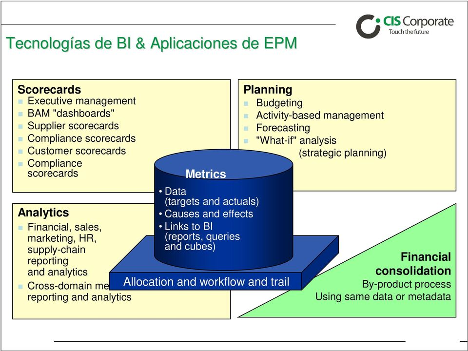 analytics Metrics Data (targets and actuals) Causes and effects Links to BI (reports, queries and cubes) Allocation and workflow and trail Planning