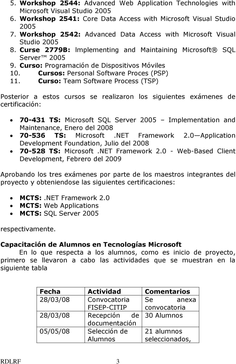 Cursos: Personal Software Proces (PSP) 11.