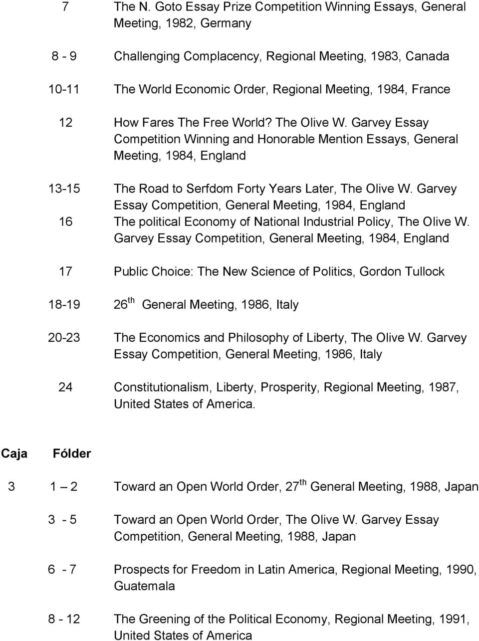 12 How Fares The Free World? The Olive W. Garvey Essay Competition Winning and Honorable Mention Essays, General Meeting, 1984, England 13-15 The Road to Serfdom Forty Years Later, The Olive W.