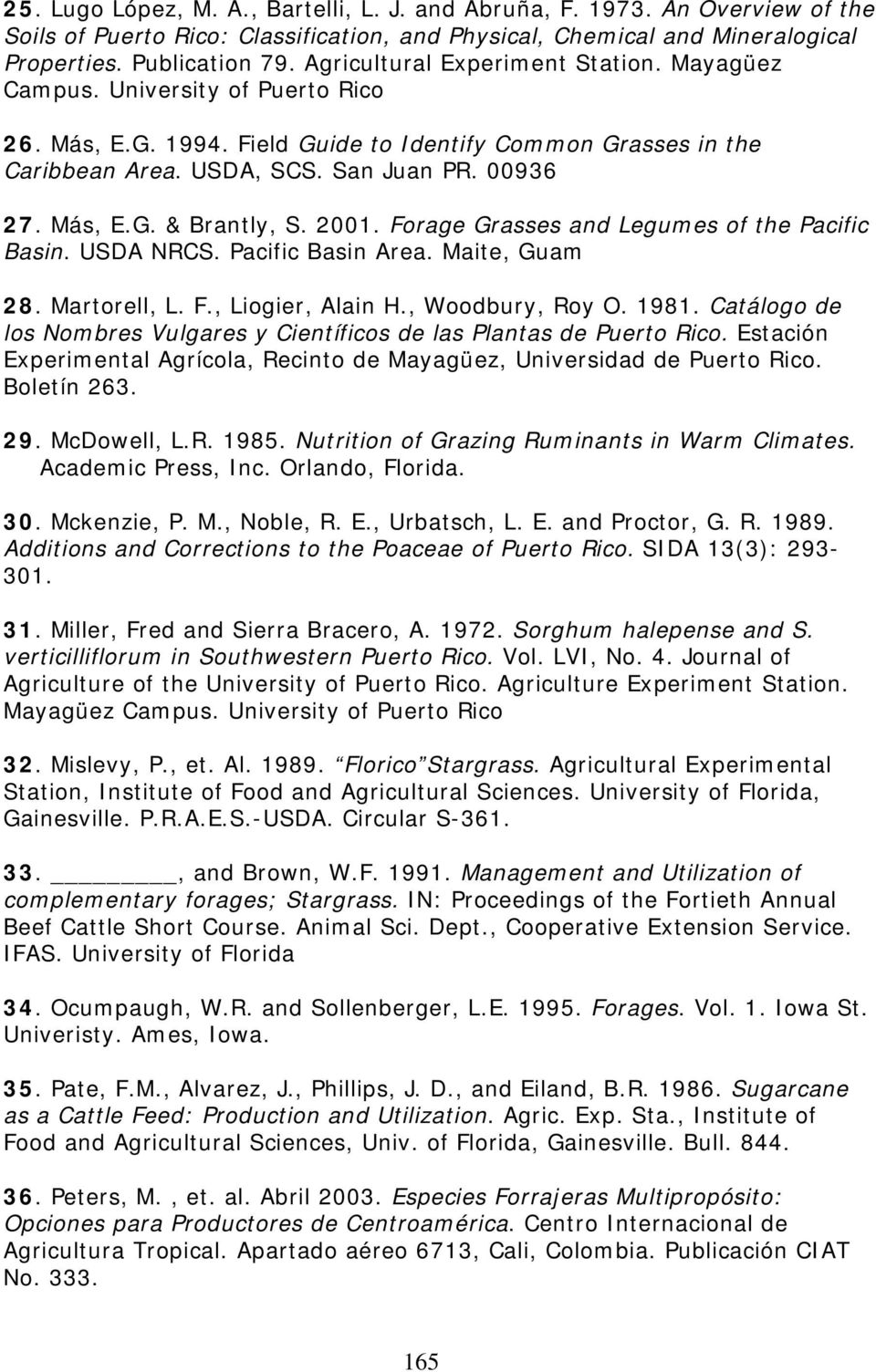 2001. Forage Grasses and Legumes of the Pacific Basin. USDA NRCS. Pacific Basin Area. Maite, Guam 28. Martorell, L. F., Liogier, Alain H., Woodbury, Roy O. 1981.