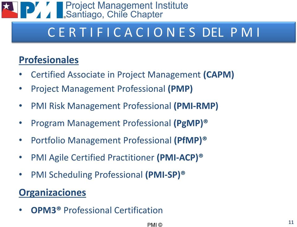 Management Professional (PgMP) Portfolio Management Professional (PfMP) PMI Agile Certified