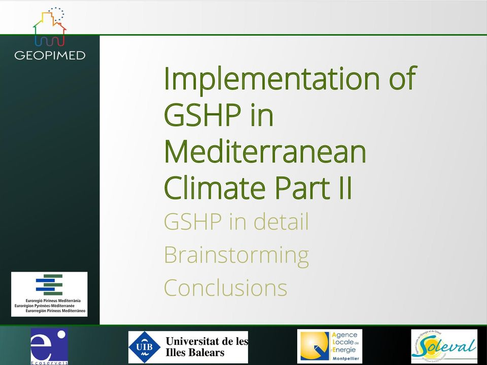 Climate Part II GSHP in