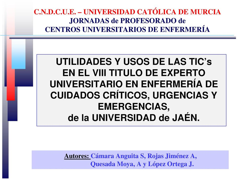 Y EMERGENCIAS, de la UNIVERSIDAD de JAÉN.
