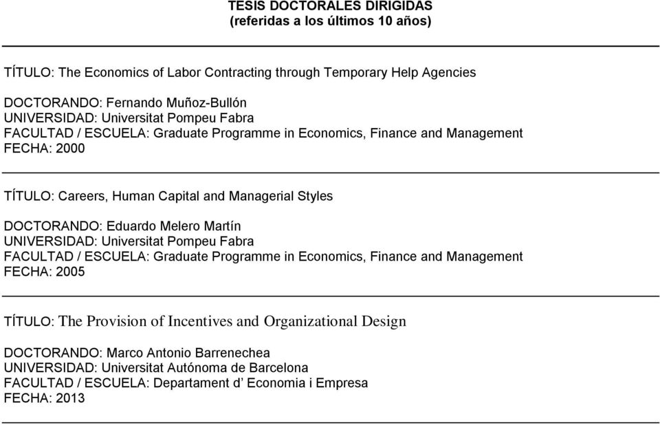 DOCTORANDO: Eduardo Melero Martín UNIVERSIDAD: Universitat Pompeu Fabra FACULTAD / ESCUELA: Graduate Programme in Economics, Finance and Management FECHA: 2005 TÍTULO: The