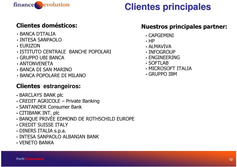 SOFTLAB MICROSOFT ITALIA GRUPPO IBM Clientes estrangeiros: BARCLAYS BANK plc CREDIT AGRICOLE Private Banking SANTANDER Consumer Bank