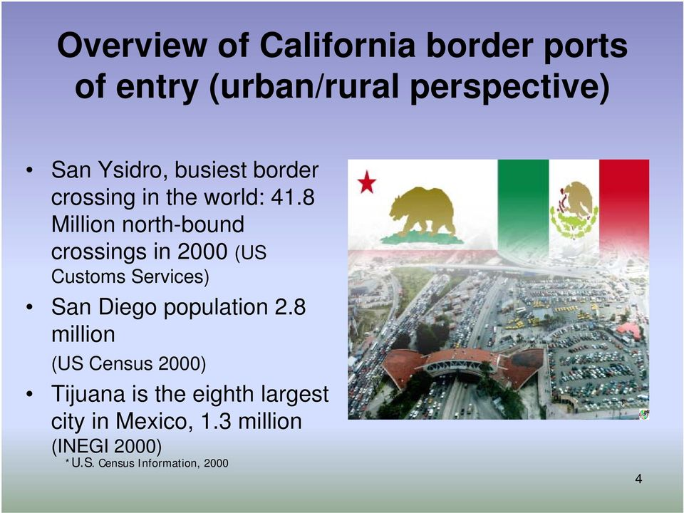 8 Million north-bound crossings in 2000 (US Customs Services) San Diego population 2.