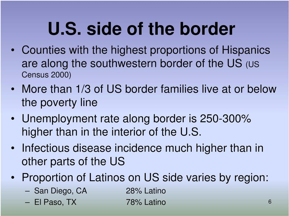 along border is 250-300% higher than in the interior of the U.S.