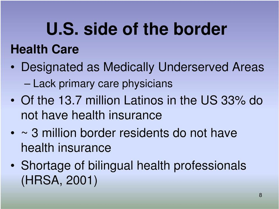 7 million Latinos in the US 33% do not have health insurance ~ 3 million
