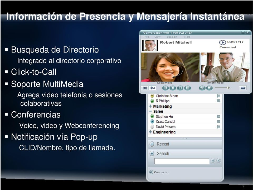 Agrega video telefonia o sesiones colaborativas Conferencias Voice,